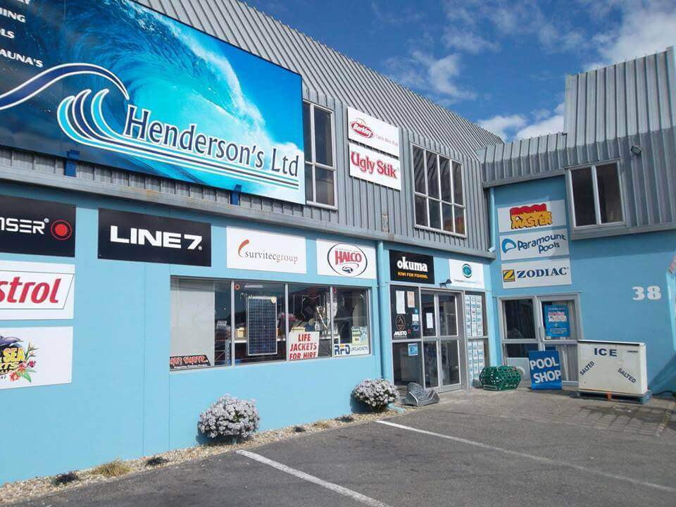 Storefront Showing Marine And Fishing Brands Sold At Hendersons Ltd in Blenheim NZ