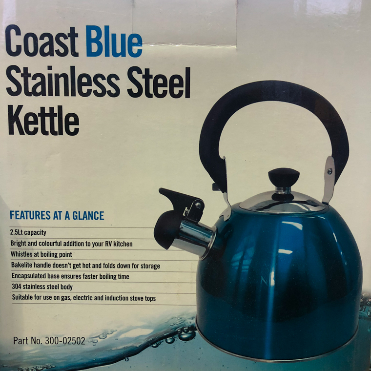 Blue whistling kettles Are Sold At Hendersons Ltd In Blenheim NZ